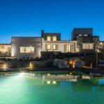 Facade of the luxury villa at night