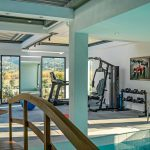 Fitness centre with wooden bridge
