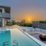 Relax by the pool and the fire watching the sunset