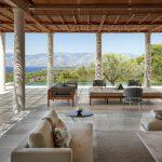 Shaded lounge area at villa 5