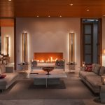 ultra luxury living room with fireplace