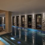 Night view of the indoor pool
