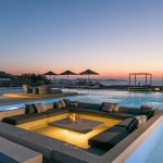 Night lights in the floating lounge at villa in Mykonos