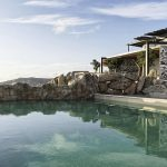 private pool at the estate in Mykonos for 69 guests