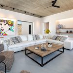 Modern living room with pieces of art