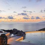 sunset overlooking Elia beach in Mykonos