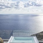 outdoor jacuzzi with infinity sea view
