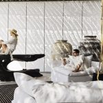 relaxing next to the Cycladic art at villa Escape in Mykonos