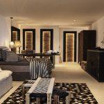 luxury master bedroom with night lighting